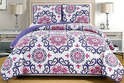 (Oversize King, Purple, White, Medallion) - 3-Piece Fine printed Oversize