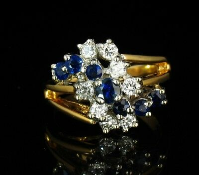 VINTAGE NATURAL 1.50ctw BLUE SAPPHIRE DIAMOND SOLID 14K YELLOW GOLD CLUSTER RING