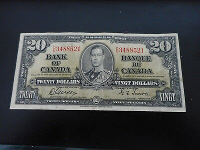 1937 $20.00 Banknote From Canada Gordon/towers. Nice Color And Condition