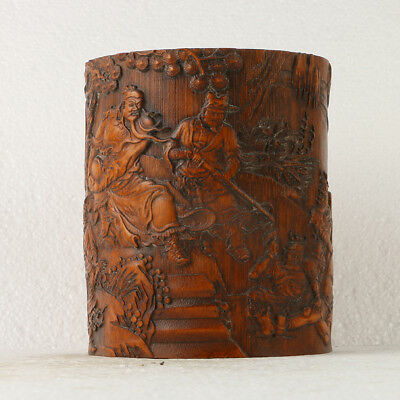 Chinese Antique Boxwood brush pot Carved Old Man  GL225