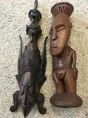 Wooden Ceremonial Pacific Island Totems, club and music sticks