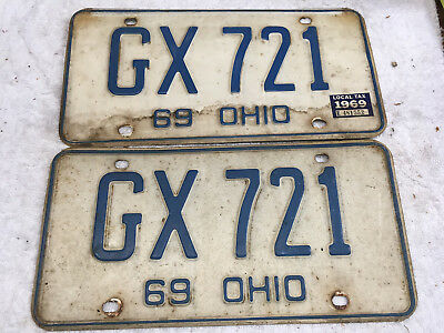 1969 Ohio license plate set (front-rear) pair