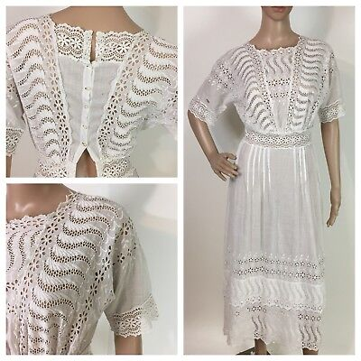 ANTIQUE vintage EDWARDIAN WHITE EMBROIDERY CROCHETED LACE DAY/ WEDDING DRESS