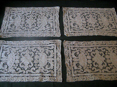 "antique vtg PLACEMATS Needle Lace off-white square doilies 15.5"" x 10"" handmade"
