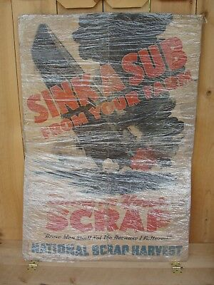 "Rare Vintage WWII Original ""Sink a Sub From Your Farm Bring us Your Scrap Nation"