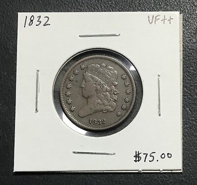 1832 U.s. Classic Head Half Cent ~ Vf++ Condition! $2.95 Max Shipping! D15