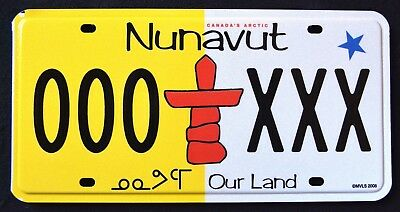 "CANADA "" NUNAVUT - TOTEM POLE -  OUR LAND - ARCTIC "" CAN Ptototype License Plate"