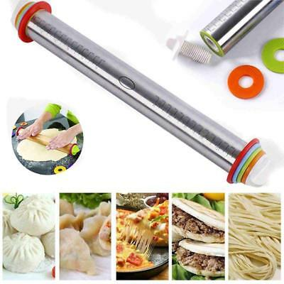 17'' Adjustable Stainless Steel Rolling Pin With 4 Pcs Removable Rings Dough