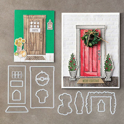 Door Plants Card Scrapbook Embossing Stencil Handcrafts Cutting Die Decor Clever