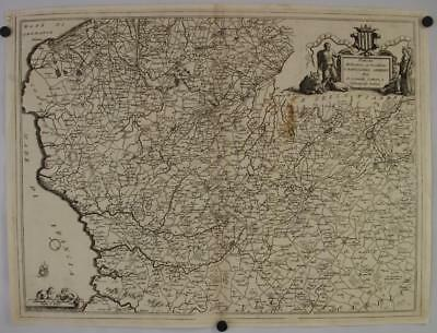 Artois France 1690 Coronelli Unusual Large Antique Original Copper Engraved Map