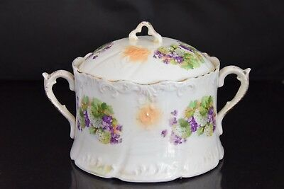 Vintage porcelain soup tureen  or a cookie jar with handles and lid