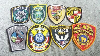 Lot of 8 Police Sheriff Fire EMS Patches Various Agencies 8/18 - 001
