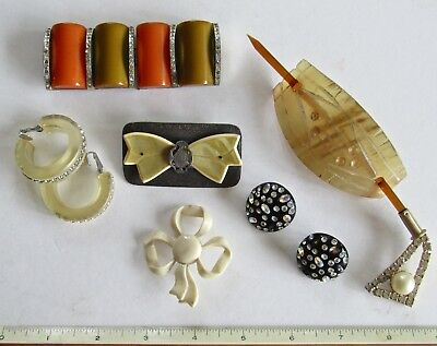LOT ART DECO  BAKELITE PLASTIC pin brooch buckle earrings hair pin Rhinestones