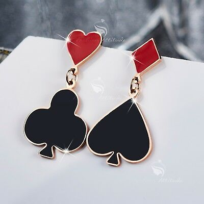 09abb619e1859 CASINO STYLE HEART Diamond Club and Spade Deck of Card Earring Studs ...