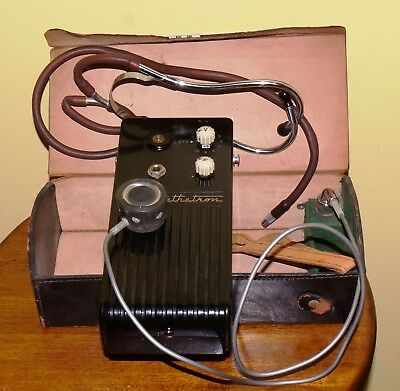 Vintage Medical Instrument Maico Stethetron 3127 Electron Stethoscope in Case