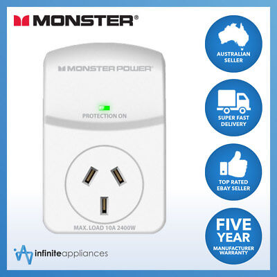 Monster Essentials Single Outlet Surge Protected Power Cube Board 10 Amp