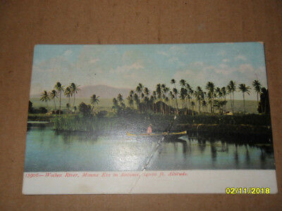 Antique Postcard Waikea River, Mauna Kea in distance, 14000 ft Altitude