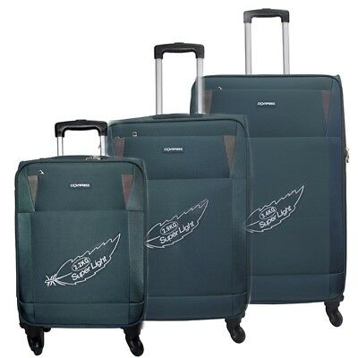 Compass Pluto 4 Wheel Suitcases Set of 3 55cm 66cm 77cm Teal (Green)