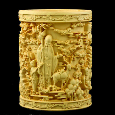 Chinese Boxwood Carved three gods of happiness&longevity&Prosperity Brush pot +a