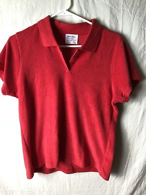 Calvin Klein Large Blouse Polo Type Red Cotton Polyester Blend Short Sleeve Top