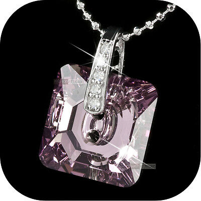 925 Sterling SILVER 18K White GOLD GP PENDANT made with Swarovski crystal