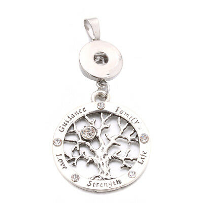 Tree of Life Charm Pendant Necklace Fit for 18mm Noosa Snap Button N187