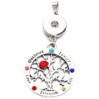 Tree of Life Charm Pendant Necklace Fit for 18mm Noosa Snap Button N185