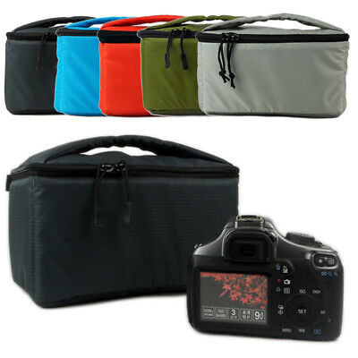 NEW DSLR SLR Camera Bag Zipped Bag Insert Handbag Padded Partition Case Lens mk