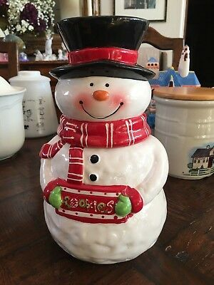 Ceramic Snowman Cookie Jar - Great Condition