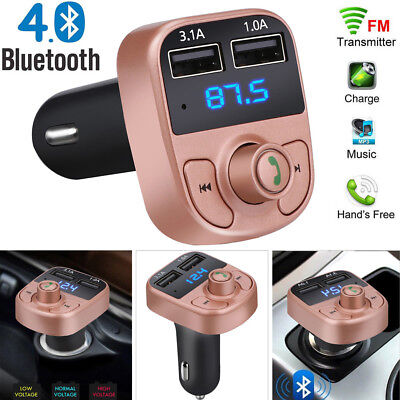 Wireless BT Handsfree Car Kit FM Transmitter MP3 Player Audio Dual USB Charger