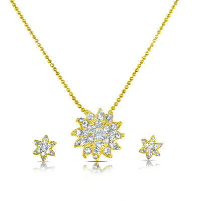 Charming Women American Diamond Swarovski studded flower shaped chain pendant