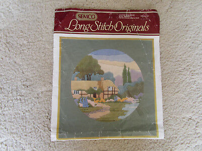 Semco  Long Stitch Kit Of A Country Homestead 29 Cms. Round. Partly Started
