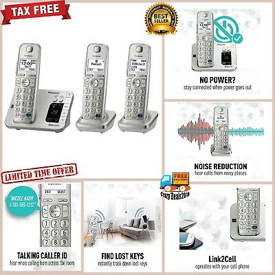 Panasonic Link2Cell Bluetooth Cordless Answering Machin Phone System 3 Handsets