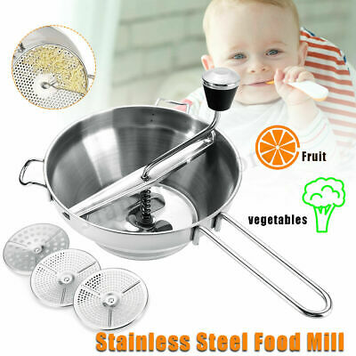 New Stainless Steel Food Mill Mouli Potato Ricer Vegetable W/3 Milling Discs AU