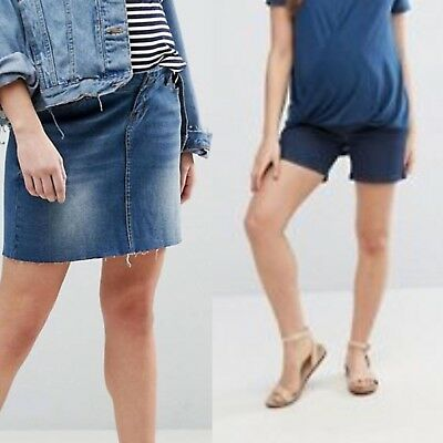 Maternity Denim Shorts & Skirt With Bump Bands Size 12 - 14