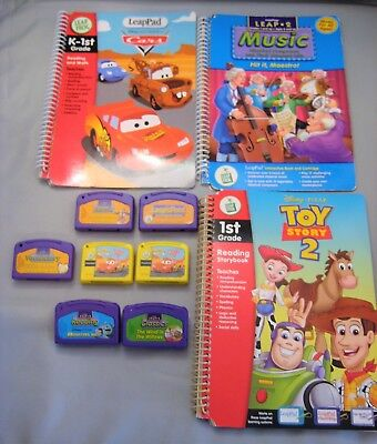 Leap Frog 3 Books 7 Cartridges Leap Pad, Toy Story, Leap's Pond My First Leappad