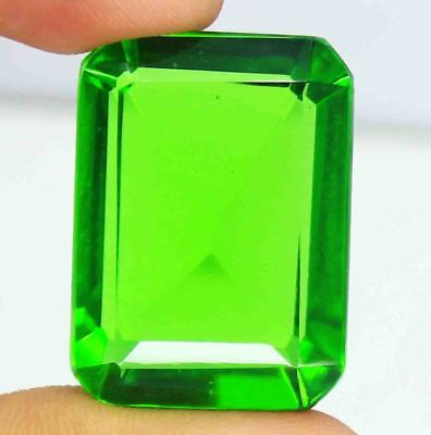 Superb Quality 72.25 Ct Certified Emerald Shape Green Moldavite Gemstone BZ1232