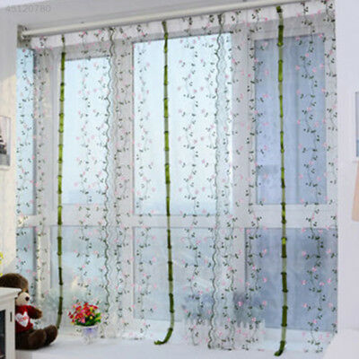 Latest Embroidered Flower Tulle Window Curtain Panel Sheer Scarf Valance