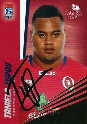 ✺Signed✺ 2017 QUEENSLAND REDS Rugby Union Card TANIELA TUPOU