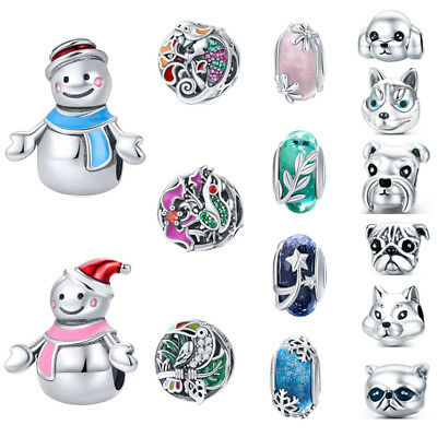 Voroco Optional Real 925 Sterling Silver Season Charm Cute Dog Bead For Bracelet