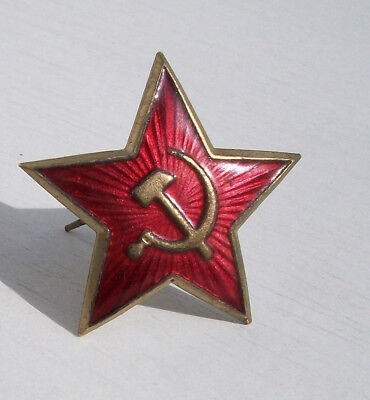 Red Star Ussr Soviet Army Real Hot Enamel Bronze  Hat Cap Wwii
