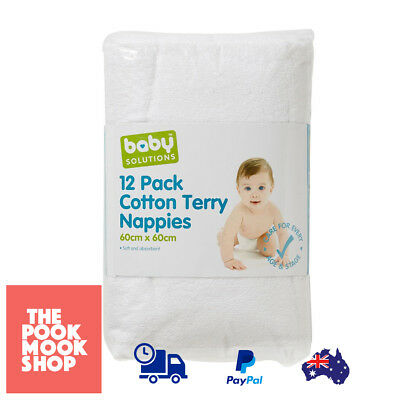 Cotton Terry Nappies Pack of 12 Soft Absorbent White Diaper Liner Changing, Pads