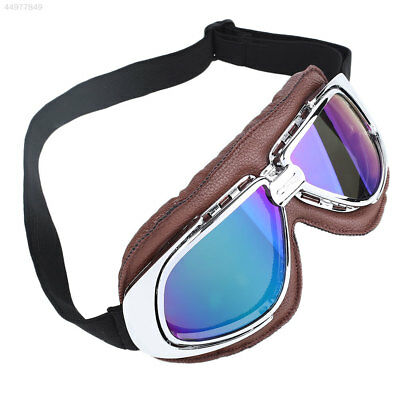 Motorcycle Brown Leather PU Protective Protection Guard Safety Eye Goggles