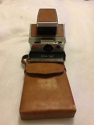 Polaroid SX-70 Land Camera with Leather Case Vintage NOT TESTED SOLD AS IS