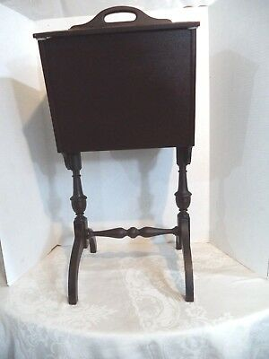 Antique Wooden Standing Sewing Cabinet 1920-1930's W/ Double Lids~Removable Tray