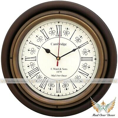 """Antique Style Vintage Wooden 12""""Cambridge Home Office Wall Clock With Brass Ring"""