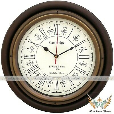 Antique Vintage  Brass & Wooden 12 inch Cambridge Home Office Wall Clock