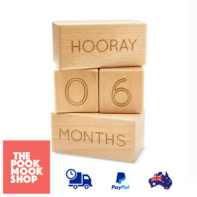 Wooden Age Blocks Stacking Decor Kids Block (Natural) Milestone Square Rectangle