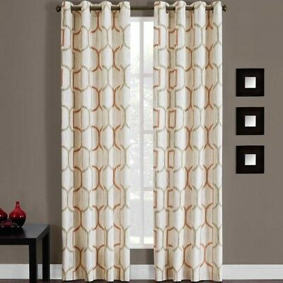 "Portinari 50"" W x 84"" L, 1 Grommet Top Window Curtain Panel in Papaya"