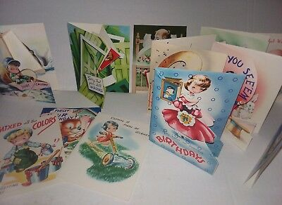 12 VINTAGE birthday/get well CARDS BOXED UNUSED 1940's pop ups, cut outs
